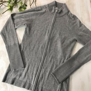 Lululemon Gray Zip Front Merino Wool Sweater 6